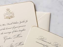 engraved wedding invitations engraved wedding invitation classic script corner gold