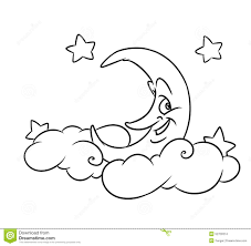 merry month clouds stars coloring page stock illustration image