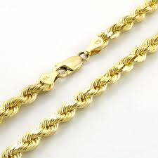 gold solid necklace images 10k yellow gold solid diamond cut rope chain necklace 4mm 20 ebay jpg