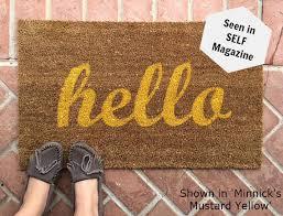 Summer Doormats Hello Script Welcome Mat Hand Painted Custom Doormat