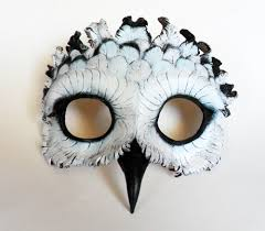 Snowy Owl Halloween Costume Snowy Owl Leather Mask Libertiniarts Etsy 95 00 Leather