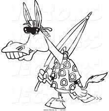 vector of a cartoon summer donkey carrying a beach umbrella