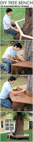 bench around a tree design man lays a wooden frame in his backyard