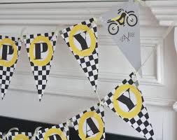 happy birthday pennant flag checkered flag black yellow motorcycle
