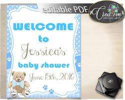 baby shower welcome sign editable printable teddy bear welcome