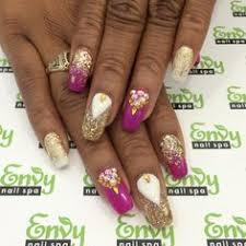 abstract stripes orangey pink white silver nails envy nail