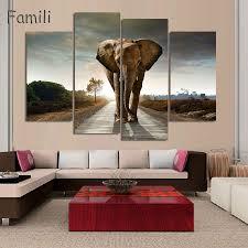 Wohnzimmer Deko Afrika Elefanten Bilder Auf Leinwand Elefanten Natur Himmel Afrika