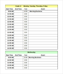 time schedule template daycare weekly schedule template 5 day