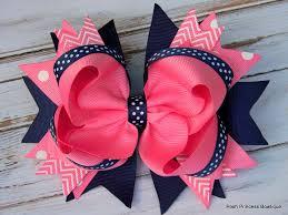 beautiful bows boutique hair bows navy blue pink hair bows stacked hair bow big