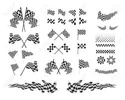 checkered ribbon checkered flags and ribbons set vector illustration on white