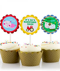 farm cake toppers birthday party cupcake toppers for boys