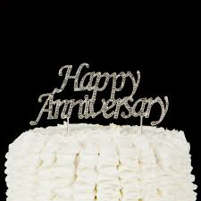 anniversary cake toppers happy anniversary cake topper silver metal rhinestone party