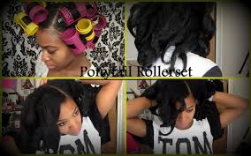 natural hair ponytail rollerset on curly hair no heat