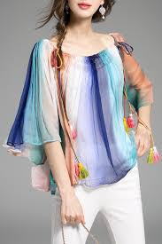 rainbow blouse acemiss colormix bell bottom sleeve rainbow blouse blouses at dezzal