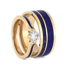 blue rings jewelry images Lapis lazuli wedding ring set matching rose gold wedding band set jpg