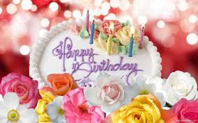 cute happy birthday cake and flower graphic share on facebook