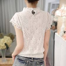sleeve lace blouse 2017 white lace blouse sleeve stand collar tops