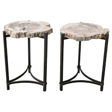 petrified wood end table furniture petrified wood end table on iron base side table at 1stdibs