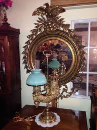 rare single cast single student lamp by manhattan brass new york dated 1878 cased apple green shade