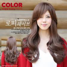 popular hair colour for korean wholesale oblique bangs long curly hair fluffy wig pear head girls