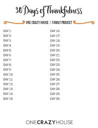 30 days of thankfulness family project