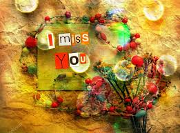 i miss you sentiment spelled out with cut out letters card with