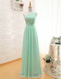 diyouth one shoulder mint green floor length bridesmaid dresses