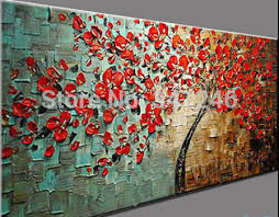 modern paint 20x40inches hand painted thick paint knife oil painting red flower
