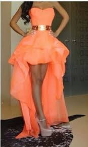 chiffon sweetheart hi lo orange homecoming dresses with gold belt