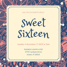 blue cream pink floral sweet 16 invitation templates by canva