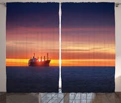 nautical decor curtains 2 panels set sunrise horizon on sea with