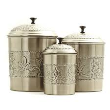 Fleur De Lis Canisters For The Kitchen Old Dutch 3 Pc Antique Embossed Victoria Canister Set Walmart Com