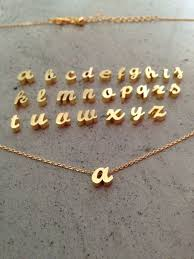 gold necklace with letter images Lower case initial necklace gold initial gold letter initial jpg