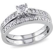 Wedding Rings Sets by 1 3 Carat Diamond Yellow Gold Bypass Bridal Ring Set Walmart Com