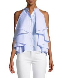ruffled blouse caroline constas adrie sleeveless button front striped ruffled