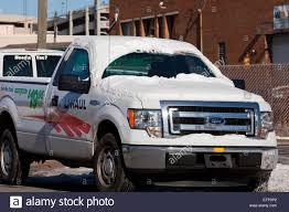 u haul pickup truck in winter usa stock photo royalty free