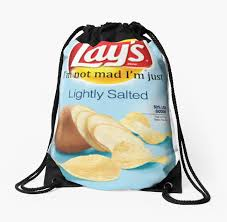Lays Chips Meme - lays lightly salted meme drawstring bags by unicyclephredd redbubble