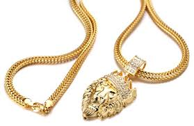 real gold chain necklace images Halukakah kings landing men 39 s 18k real gold plated crown lion jpg