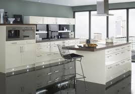 kitchen white lacquered kitchen island with wood top stools range