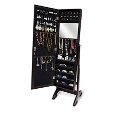 Anti Tarnish Jewelry Armoire Amazon Com Gls Dark Brown Mirrored Jewelry Armoire Floor Standing