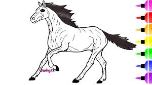 horse drawing and coloring for kids learning colors and zebra