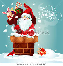 card santa claus on roof stock vector 524991697