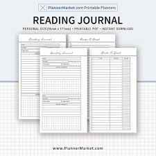 printable planner notes reading journal 2018 planner personal size inserts planner refill
