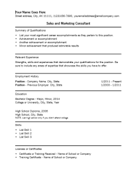 sales marketing consultant resume template
