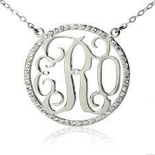 Monagram Necklace Circle Monogram Necklace Sterling Silver