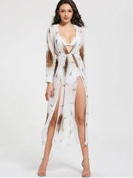 leopard print high slit chiffon maxi club dress white club