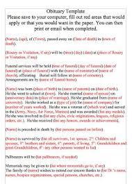 funeral obituary templates free obituary templates word pdf sle template section
