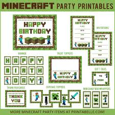 minecraft party minecraft party printable downloads party printables