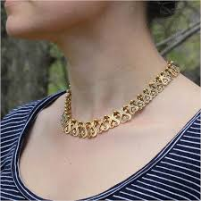 gold chain collar necklace images Antique french gold and blue enamel collar necklace victoria jpg