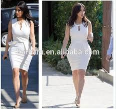 casual white beautiful mature women bandage dress factory suply